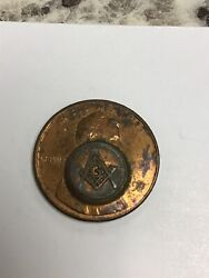 Vintage 1990 Copper Masonic Square And Compass And Tubal Cain Penny