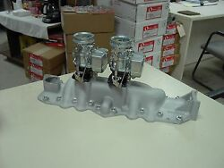 Nos Offy Offenhauser 32-48 59a Ford Mercury Flathead Stromberg 97 2 Carb Intake