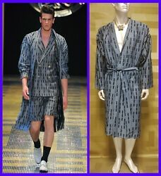 S/s 2013 Look 46 New Versace Belted Wool Silk Blend Kimono Robe 50 - 40 L