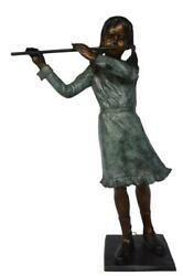 Girl Playing Flute Large Bronze Statue - Size 30l X 15w X 50h.