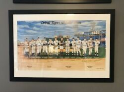 Detroit Tigers All Time Team Lithograph Signed Framed Coa 1999 9 Autographs Mlb