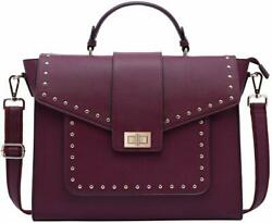 15.6quot; Laptop Tote Briefcase Shoulder Travel Women Bag Faux Leather Burgundy NEW $64.99