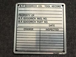 Vintage B.f. Goodrich Tire Co Aluminum Metal Sign Tag Tool Record Akron Oh 2