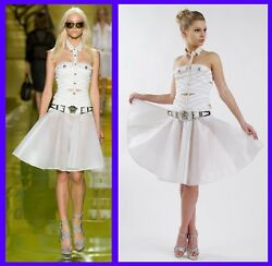 S/s14 Look 6 New Versace White Mesh-trimmed Cotton-blend Dress With Belt 38 - 4