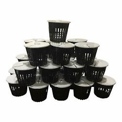 25 Pack - Net Pot 3 Inch With Lids Mesh Aeroponic Orchid Round