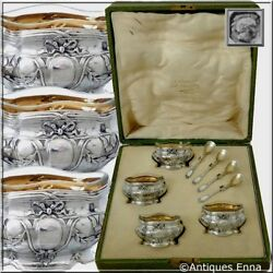 Coignet French Sterling Silver 18k Gold 4 Salt Cellars Spoons Original Box