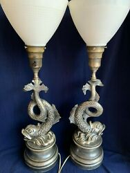 Pair Antique Pewter Like Metal Dolphin Table Lamp Milk Glass Shades