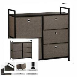 Faux Linen Home Dresser Tower With 5 Easy Pull Drawers and Handles Sturdy...