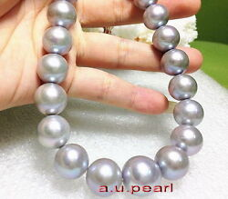 Big Aaa 1713-15mm Round Natural Real South Sea Silver Gray Pearl Necklace 14k