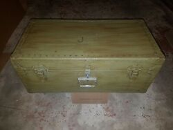 Rare Vintage Military 1946 Us Navy Trunk Footlocker By Kleber Trunk And Bag Co