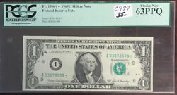 1969c 1 Federal Reserve Star Note Fr.1906-i Pcgs 63ppq Ch New Mm76