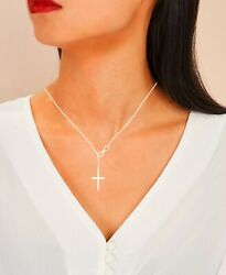 Women#x27;s Fashion Jewelry 925 Sterling Silver Plated Infinity Cross Necklace 4 3 $5.99