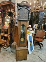 Antique Deco Oak Grandfather Clock - Beautiful Early 1900and039s
