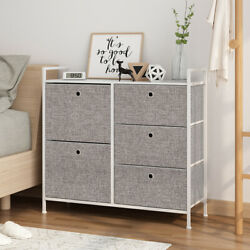 Faux Linen Home Dresser Tower Closet Storage Organizer Cabinet With 5 Drawers US