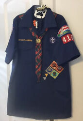 Official Boy Scout Cub Scout Shirt Short Sleeve Blue Youth Medium With Extras