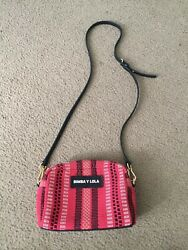 Bimba Y Lola Redblack Raffia Leather Bag Crossbody Purse Small Gold Chain logo $150.00