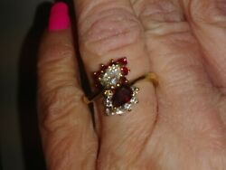 Vintage 18kt Yellow Gold Ruby Diamond Cocktail Ring