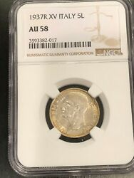 1937r Xv Italy 5l - Ngc - Au 58 - Beautiful Toned Coin