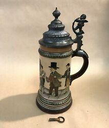 Hauber And Reuther Etched Music Box German Lidded Stein With Key