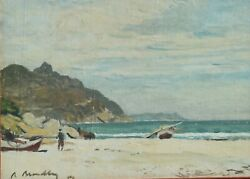 Antique Robert Broadley South African Hout Bay Oil On Canvas Seascape 1939