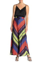 New 128 Free People Rio Maxi Striped Long Skirt Multi-color Size 12