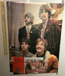 Vintage Music Poster The Beatles Holding Sgt. Peppers Lonely Hearts Club Band