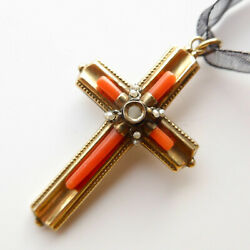 Rare Coral Cross Pendant Victorian Stanhope 9ct Gold Pearl With Lords Prayer