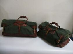Set of TWO ORVIS Battenkill Green Canvas DUFFLE BAGS - 24 and 28 Inch