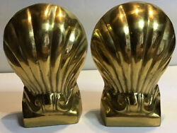 """Pair Of Brass Gilt Metal Shell Bookends Decorative Crafts Inc. Heavy 7 1/2"""""""