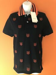 Nwt Tiger Embroidered Navy/orange Polo Shirt Size Xs