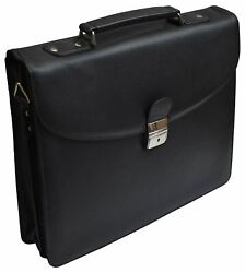 Leather Briefcase for Travel Office Business 15 inch Laptop Messenger Bag Black $49.99