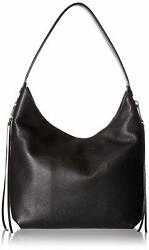 Rebecca Minkoff Medium Bryn Double Zip Black Leather Hobo Women#x27;s Handbag New $97.30