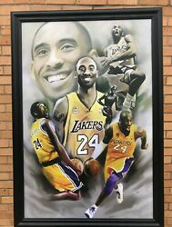 Kobe Bryant Legends Collage Nba Tribute Wood Framed Textured Picture Print