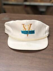 Hat- Stevie Ray Vaughan And Double Trouble White Snapback Gold Blue Black Stitch