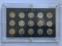 United States Mercury Dimes 1941 To 1945 15 Coin Set Silver Dime Collection