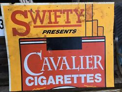 Vintage Swifty Gas Sign Cavalier Cigarettes Plastic Sign Rare 34x27.5 Inches