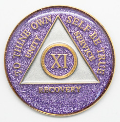 11 Year Aa Coin Purple Glitter Sobriety Alcoholics Anonymous Sober Medallion