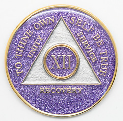 12 Year Aa Coin Purple Glitter Sobriety Alcoholics Anonymous Sober Medallion