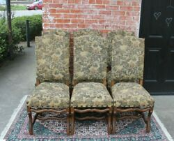 Set Of 6 French Walnut Louis Xiv Upholstered Antique Chairs