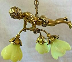 Rare Antique Brass Chandelier Cherub Three Lights Vaseline Flower Shades