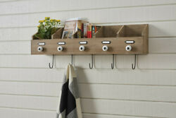 Rustic Wood Wall File Box With 5 Hooks. Hanging Organizer Box By Park Designs
