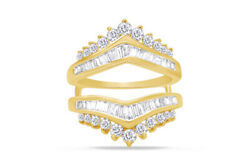 Round And Baguette Diamond Solitaire Enhancer Guard Ring 14k Yellow Gold 1.25 Ct