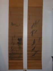 Rare2pcs Antique Chinese Scroll Painting 4蝦qi Baishi齊白石signed_seal Mark Hhp112