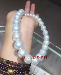 Australia Top 1712-14mm Real South Sea Perfect Round White Pearl Necklace 14k