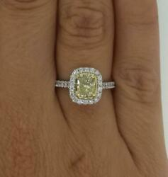 1.5 Ct Fancy Yellow Halo Pave Cushion Cut Diamond Engagement Ring Vs2 Canary