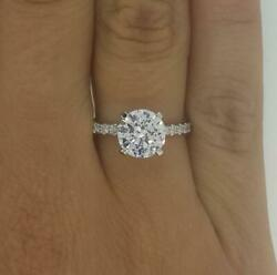 2.1 Ct 4 Prong Pave Round Cut Diamond Engagement Ring Si2 D White Gold 14k