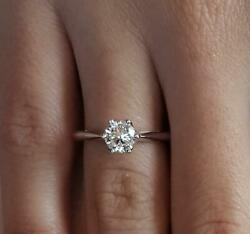 1.5 Ct 6 Prong Solitaire Round Cut Diamond Engagement Ring Si2 F White Gold 18k