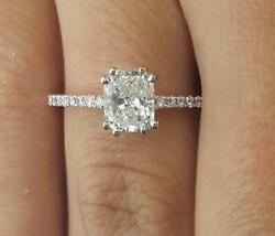 1.5 Ct Double Claw Pave Cushion Cut Diamond Engagement Ring Si1 G White Gold 14k