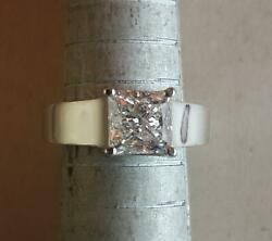 1.5 Ct Solitaire Princess Cut Diamond Engagement Ring Si2 H White Gold 14k