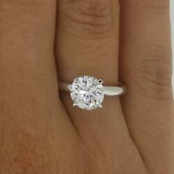 3.75 Ct 4 Prong Solitaire Round Cut Diamond Engagement Ring Si1 F White Gold 18k